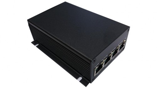 Industrial VDSL2 Ethernet ExtenderProscend P101MI-G 183Mbps with 4 port 1Gb Ethernet Switch - sideview